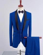 Mens Dark Blue One Button Back Vent Shawl Lapel Tuxedos