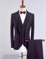Mens Dark Purple Solid One Button Three-piece Suit