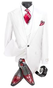 Fabric Vested Big Peak Lapel 1920s Style Suit With Double Breasted