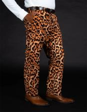 100% Polyester Slim Fit Leopard - Animal Print Pants