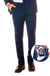 100% Polyester Slim Fit Navy Pants