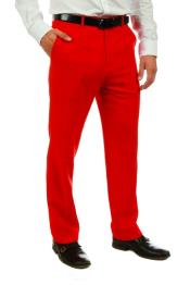Red 100% Polyester Slim Fit Pants