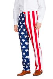 Red and White Stripped 100% Polyester American Flag Suit Pants