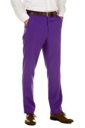 Purple 100% Polyester Slim Fit Pants