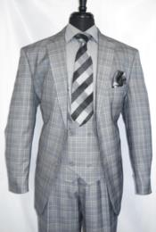 Vintage Suits Patterns Checkered Suit In Grey