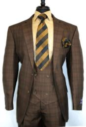 Vintage Suits Patterns Checkered Suit In Brown