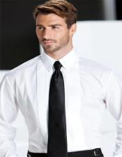Mens White Pleated Laydown Tuxedo Shirt