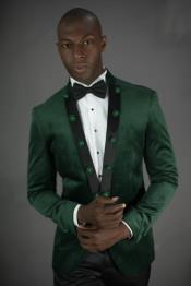 Green ~ Olive Green  Peak Lapel  Wedding ~ Prom Suit