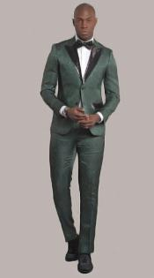 Green Two Button Peak Lapel Slim Fit Suit