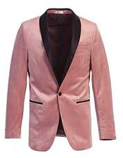 Velvet Tuxedo Blazer Slim Fit Pink With Black