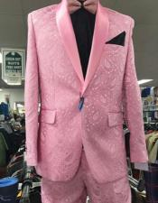 Mens Prom Paisley ~ Floral Suits / Wedding Tuxedos Jacket and Pants Pink
