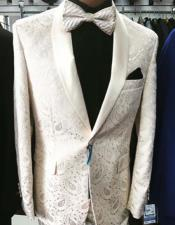 Mens Prom Paisley ~ Floral Suits / Wedding Tuxedos Jacket and Pants Ivory