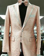 Prom Paisley ~ Floral Suits / Wedding Tuxedos Jacket and Pants Orange