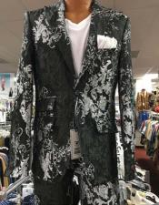 Mens Prom Paisley ~ Floral Suits / Wedding Tuxedos Jacket and Pants Black ~ White