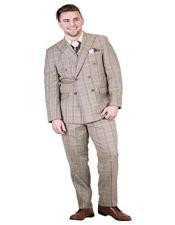 2 Piece Double Breasted Peak Lapel Plaid Modern Fit Suit