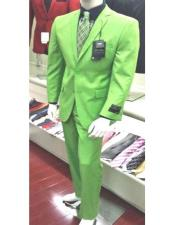 Lime Green Single Breasted Two Button Closure Suit