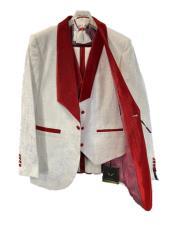 Wedding Paisley Floral Tuxedo Jacket ~Blazer  - Red Tuxedo