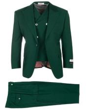 Green ~ Hunter Green Suit Pleated Classic Fit Athletic Fit Cut