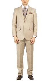 Beige Peak Lapel Fully Lined Modern