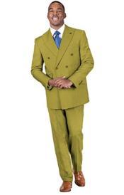 2-Piece Peak Lapel Solid Double Breasted Suit Chestnut