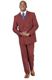 2-Piece Peak Lapel Solid Double Breasted Suit Burgundy