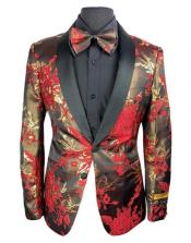 Flower Paisley Suits Jacket and Pants and Matching Bowtie Tuxedo Suit