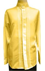 Collar ~ Banded Collar Dress Shirts Gold