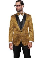 Mens Gold Paisley One Chest Pocket Floral Suit