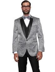 Floral Suit & Tuxedo Jacket and Pants and Bow Tie Silver