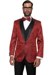 Floral Suit & Tuxedo Jacket and Pants and Bow Tie Red