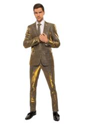 Mens Two Button Gold ~ Blue Suit