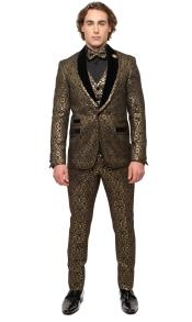 Mens Gold Shawl Lapel Iicket Pocket Suit
