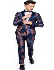 One Button Blue ~ Gold Suit