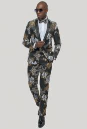 Gold Tuxedo - Black and Gold Tuxedo Mens One Button  Black