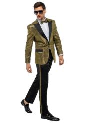 Mens One Button Gold Suit