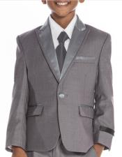 Boys Grey Tuxedo 3 -Piece Set for Kids Teen Children - Ring