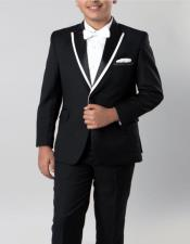 Boys Tuxedo Black with White Trim 4 -Piece Set for Kids Teen