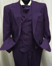 Eggplant One Chest Pocket Old Fashioned School Style Suit