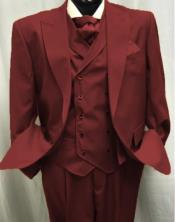 Burgundy Two Button Old Fashioned Vintage Suits