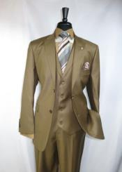 Light Brown Peak Lapel 4 Button Label Vest Suit