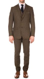 Mens Vintage Cognac Super Slim Fit Suit