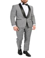 Mens Gray Shawl Lapel Single-Button Style Suit