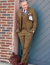 Glasgow Brown Tweed Two Cuff Buttons Fabric Suit