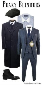 Old Fashioned School Style Suit 1800s Vintage Blue Gray