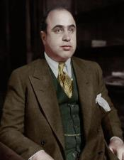 Mens Al Capone Brown Suit with Green Vest