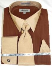 Brown Multi Colorful Mens Dress Shirt