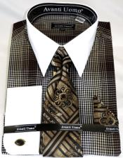 Brown Houndsiooth Colorful Mens Dress Shirt