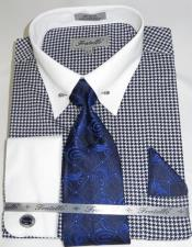 Blue Houndstooth Colorful Mens Dress Shirt