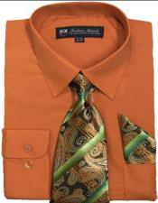 Mens Dress Shirts Tie Set Orange Color Long Sleeve Fortini