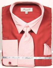 Mens Fashion Dress Shirts and Ties Brick Red Dress Shirt and Tie